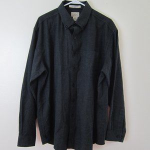 L.L. Bean Mens Button Shirt L Black Gray New